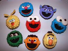 Sesame St Cupcakes--this article explains how she created each character, from the tips used for icing to what she used for the facial features.