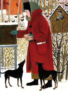 'Collecting The Post' By Painter Dee Nickerson. Blank Art Cards By Green Pebble. www.greenpebble.co.uk