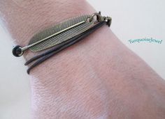 Leather Bracelet, UNISEX, Boho wrap bracelet, Leaf charm, Personalized Cuff bracelet, Men's bracelet by TurquoiseJewel on Etsy