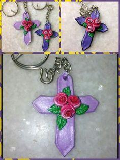Clay cross key chain  We take orders