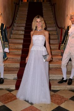 Actress Nicoletta Romanoff wearing a Valentino gown from the Spring 2013 collection at the Valentino Ball at Palazzo Volpi during the 70th Venice International Film Festival on September 4th 2013 in Venice