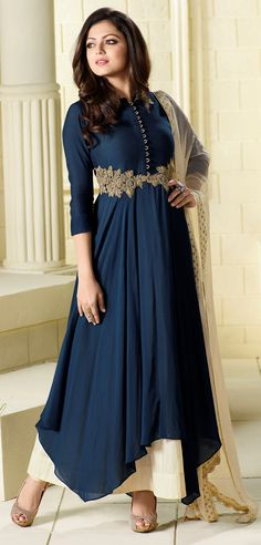 Drashti Dhami navy blue floor length asymmetrical suit with golden zari and resham work and dupatta with lace border
