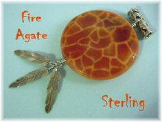 Fire Agate   Sterling Silver 3 Pendant with by FindMeTreasures