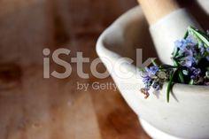 Fresh Rosemary in Pestle & Mortar royalty-free stock photo