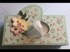 Pretty mini tissue box for those unsightly packs of pocket tissues. All products… Tissue Box Covers, Tissue Boxes, Tissue Holders, Tissue Paper, Paper Cards, Paper Gifts, Paper Boxes, Boxes And Bows, Envelope Box