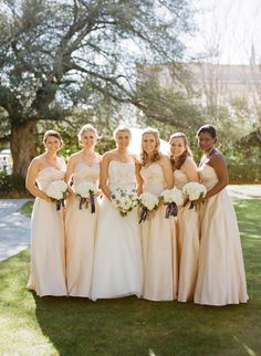 Pale Peach Bridesmaids Dresses | photography by http://www.oliviagriffin.com/