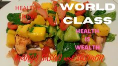 A very delicious and healthy MANGO SALAD you want to eat more and more! Fried Salmon, Mango Salad, Keto Meal, Meal Ideas, Cucumber, Keto Recipes, Fries, Healthy Living, Stuffed Peppers