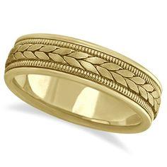 Acabado satinado de 6mm los hombres cuerda tejida a mano anillo 18k oro amarillo