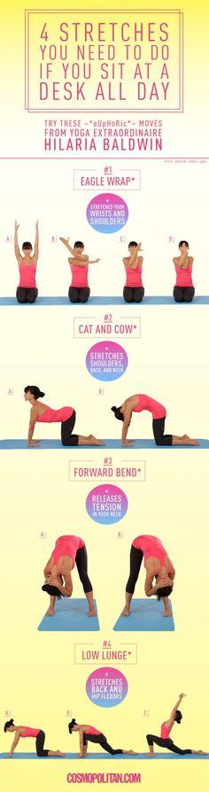 4 rekoefeningen die je moet doen als je de hele dag achter een bureau zit -Cosmopolitan.nl