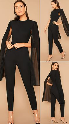 Elegant Outfit, Classy Dress, Classy Outfits, Chic Outfits, Black Outfits, Summer Outfits, Cape Jumpsuit, Jumpsuit Outfit, Prom Jumpsuit