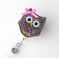 Baby Grey Owl - Name Badge Holder