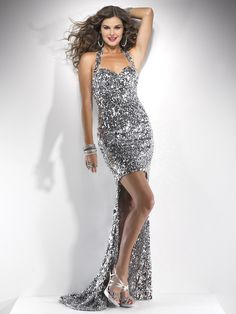 Silver Sequin Sweetheart Halter Hi-Lo Prom Dress - Unique Vintage - Cocktail, Pinup, Holiday & Prom Dresses.
