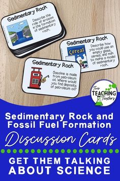 Need activities for the formation of sedimentary rocks and fossil fuels? Includes questions about fossils and past environments. Discussion cards have the student respond to a prompt that includes a drawing and a higher-level thinking question. Science Vocabulary, Science Curriculum, Science Lessons, Teaching Science, Science Activities, Science Ideas, Creative Teaching, Teaching Tips, 5th Grade Science
