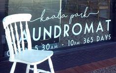 Graphics font logo for laundromat / launderette. Koala Park Laundromat on the Gold Coast in Australia. Coin Change Machine, Free Park, Queensland Australia, Gold Coast, Neon Signs, Cool Stuff, Font Logo, Interior, Graphics
