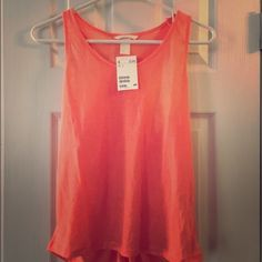 NWT H&M orange tank with detailed back size small NWT H&M orange tank with detailed back size small H&M Tops Tank Tops