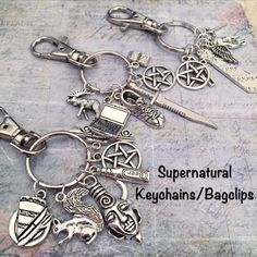 Supernatural Keychain or Bagclip  Dean by LulusStampings on Etsy