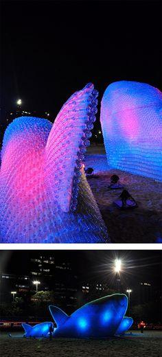 Plastic Bottle Fish Sculptures in Rio de Janeiro (at night!)