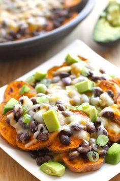 Sweet Potato Nachos with Black Beans