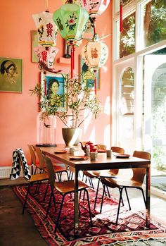 Colorful Guide to Bohemian-Chic Decorating The dining room of a Dutch home features brightly hued lanterns suspended above the table.The dining room of a Dutch home features brightly hued lanterns suspended above the table. Modern Bohemian Decor, Bohemian Interior, Modern Decor, Bohemian Patio, Bohemian Style, Bohemian Kitchen, Bohemian Room, Bohemian Design, Bohemian Dining Rooms