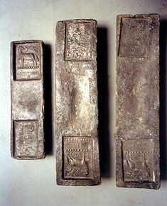 Tin ingots from a shipwreck near St Ives, Cornwall