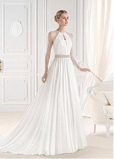 Elegant Chiffon Jewel Neckline Natural Waistline A-line Wedding Dress With Pearls