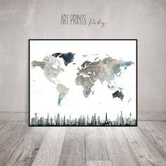 World map art world map poster print watercolor map for Zimmerdeko london