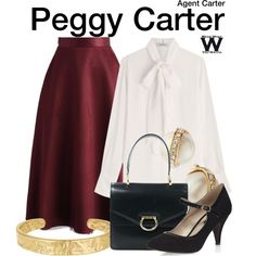 4/3/17 burgundy wool midi skirt, ivory collarless blouse, black pumps (Inspired by Hayley Atwell as Peggy Carter on Agent Carter)