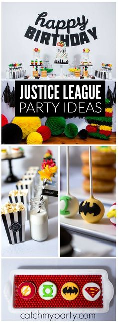 What a cool, modern Justice League superhero birthday party! See more party ideas at Catchmyparty.com!
