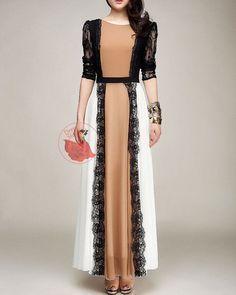 White & Light Brown Maxi Dress Black Lace Details - ... | Fashion