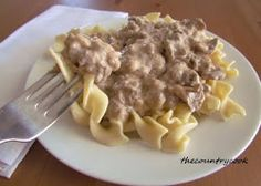Ground beef stroganoff -- easy to make (not as easy as Hamburger Helper, but better ingredients!)