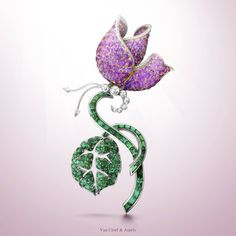 Van Cleef & Arpels celebrates the elegance and femininity of women for the International Women's Day with the Leilus Butterfly clip - platinum, emeralds, pink gold, pink sapphires and diamonds.