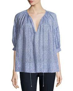 Michael Kors Collection Half-Sleeve Split-Neck Blouse, Wisteria New offer @@@ Price :$895 Price Sale $767.25