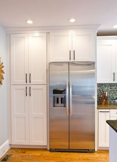 Image result for floor length cabinets next to fridge