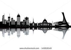 Montreal skyline - black and white vector illustration                                                                                                                                                                                 Plus