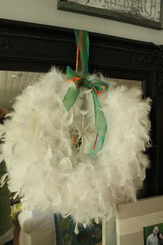 grapevine wreath w/ feather boa from Lindsey @thepleatedpoppy -- adorable!