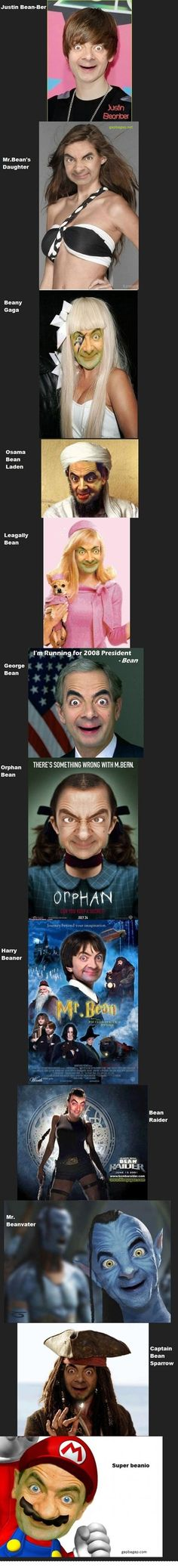 Funny Pictures Of Mr. Bean ft. Justin Bieber, Lady Gaga And Super Mario