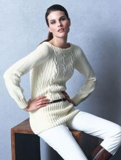 Ladies' Sweater with Cables, 1018 - Free Pattern: This knitted sweater with cables in Schachenmayr Merino Extrafine 120 is a real eye-catcher!