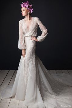 rami al ali bridal 2015 v neck blouson wedding dress long bishop sleeves godet skirt