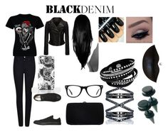 """""""blackdenim"""" by sbaez-2 ❤ liked on Polyvore featuring Armani Jeans, Converse, Sergio Rossi, Muse, Eva Fehren, women's clothing, women, female, woman and misses"""
