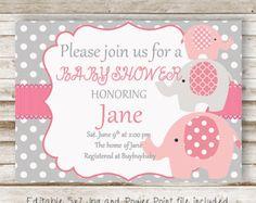 Baby Girl Baby Shower Invitation Elephant GIrl Baby por DaxyLuu