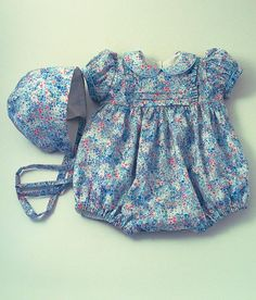 """Items similar to Liberty """"Poppy's Meadow"""" Bubble suit and Bonnet on Etsy Baby Dress Design, Baby Girl Dress Patterns, Little Girl Dresses, Smocked Baby Clothes, Cute Baby Clothes, Doll Clothes, Baby Girl Fashion, Kids Fashion, Baby Suit"""