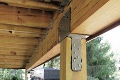 In addition to supporting deck loads, these critical joints must be designed to resist uplift, beam rotation, and lateral loads Deck Framing, Laying Decking, Deck Posts, Deck Construction, Deck Builders, House Deck, Wood Post, Diy Deck, Post And Beam