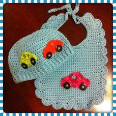 Crochet baby bib & hat
