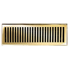 "This polished brass finish solid brass floor register heat vent cover with a contemporary design fits 4"" x 14"" x 2"" duct openings and adds the perfect accent to your home decor."