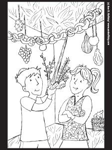Coloring page for Succot. Kids with Lulav and Etrog.