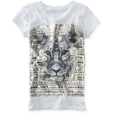 Aeropostale Tribal Lion Graphic T (27 BRL) ❤ liked on Polyvore featuring tops, t-shirts, bleach, lion t shirt, relaxed tee, tribal t shirts, metallic top and aeropostale t shirts