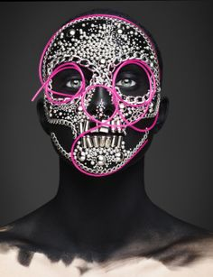 ForEpitaph,British photographer Rankin teams up with Beaty Editor Andrew Gallimore to create spellbinding death masks inspired by the Mexican Day of the Dead and Roman Catholic All Souls Day. Like the sugar skulls, or calavera, used to celebrate the holiday, these elegant masks put a vital a