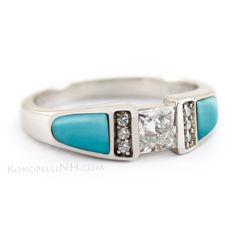 """Moonlit Lake - Serenity"" This unique engagement ring features vibrant Sleeping Beauty Turquoise set into 14K White Gold. A center princess cut diamond creates a beautiful geometric look."
