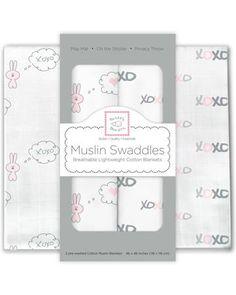 SwaddleDesigns муслиновых Pink Bunnie XOXO 2 шт  — 2950р. ------ Набор муслиновых пеленок SwaddleDesigns Pink Bunnie XOXO 2 шт сшиты из 100   муслинового хлопка. Большой размер пеленки подойдет даже для крупных малышей. Для многоразового использования. Продается в подарочной упаковке.