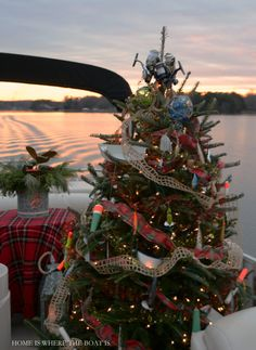 Fishing themed Christmas Tree on Pontoon Boat   Home is Where the Boat Is